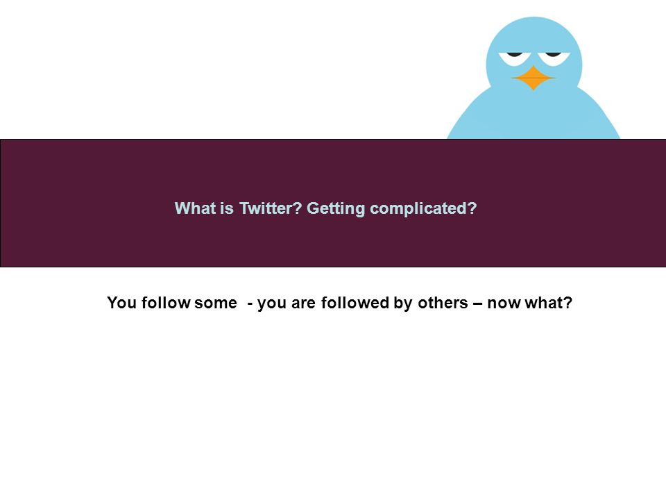 You follow some - you are followed by others – now what What is Twitter Getting complicated