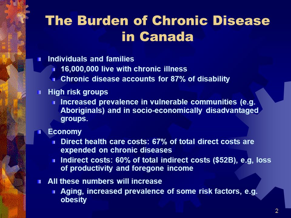 2 The Burden of Chronic Disease in Canada Individuals and families 16,000,000 live with chronic illness Chronic disease accounts for 87% of disability High risk groups Increased prevalence in vulnerable communities (e.g.