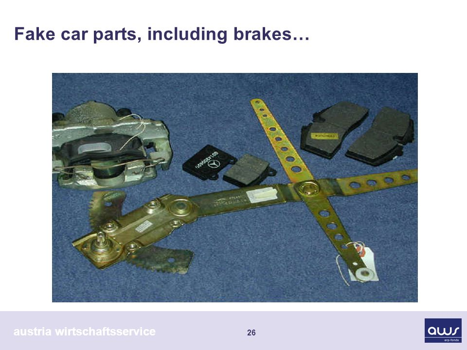 austria wirtschaftsservice 26 Fake car parts, including brakes…