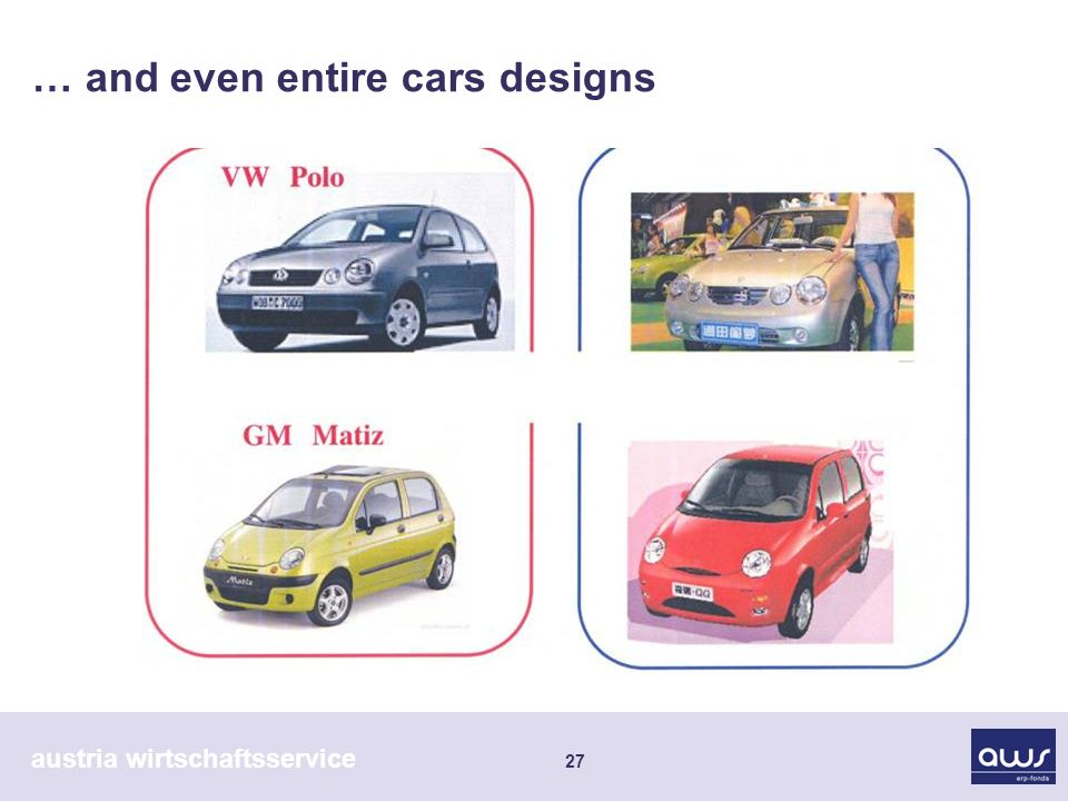 austria wirtschaftsservice 27 … and even entire cars designs