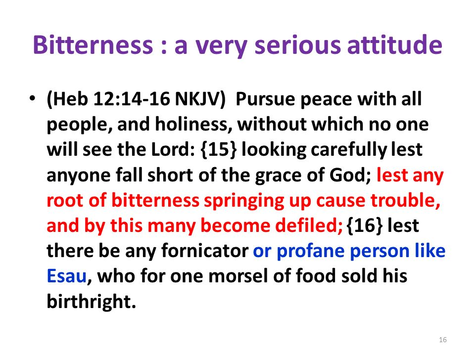 Bitterness : a very serious attitude (Heb 12:14-16 NKJV) Pursue peace with all people, and holiness, without which no one will see the Lord: {15} look