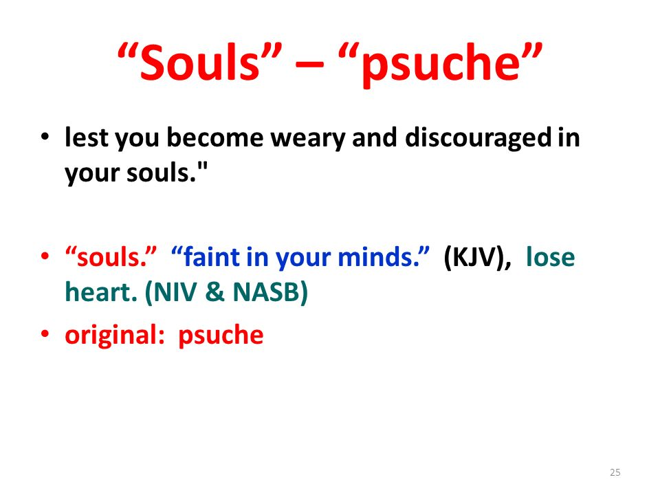 Souls – psuche lest you become weary and discouraged in your souls.