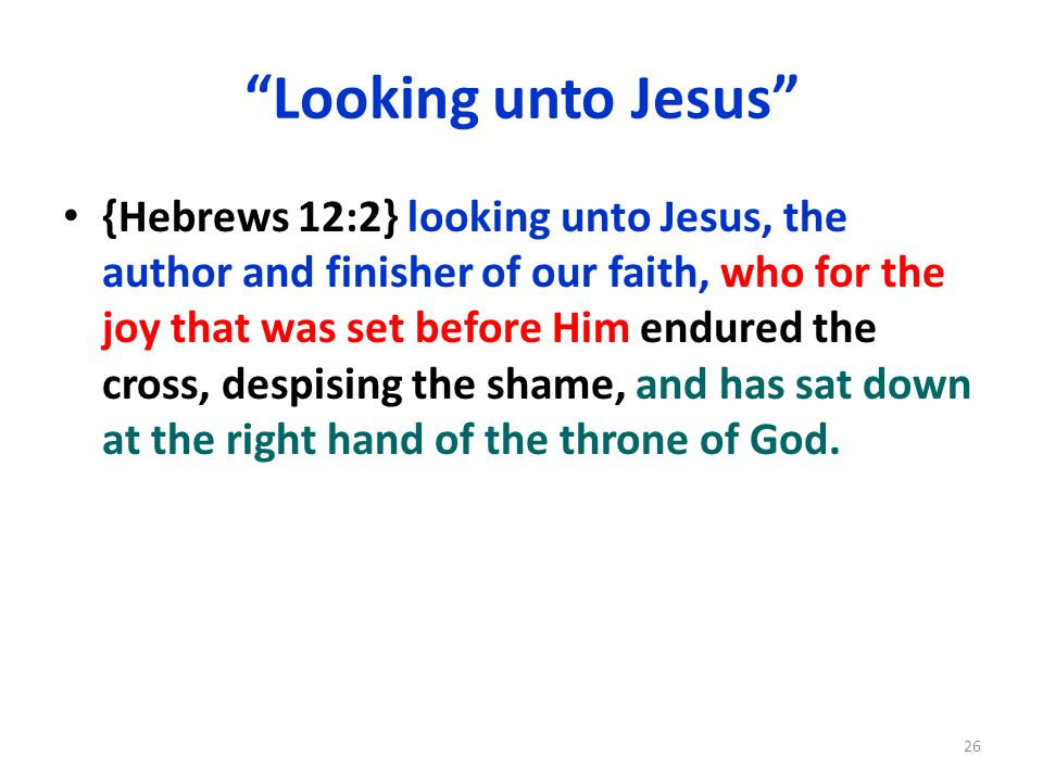 Looking unto Jesus {Hebrews 12:2} looking unto Jesus, the author and finisher of our faith, who for the joy that was set before Him endured the cross,