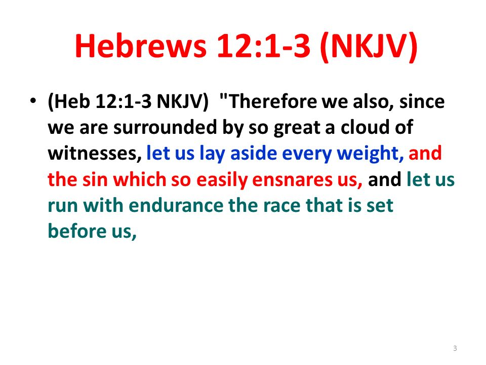 Hebrews 12:1-3 (NKJV) (Heb 12:1-3 NKJV) Therefore we also, since we are surrounded by so great a cloud of witnesses, let us lay aside every weight, and the sin which so easily ensnares us, and let us run with endurance the race that is set before us, 3