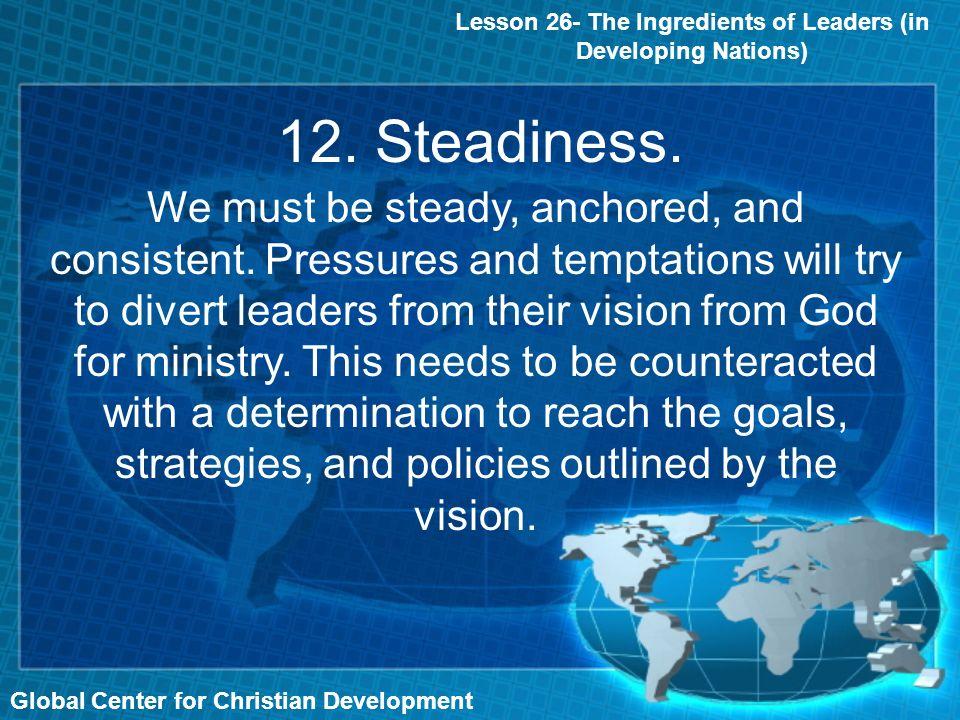 12. Steadiness.
