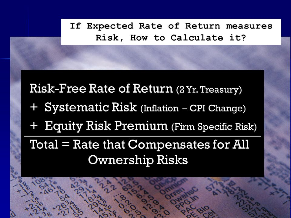 Risk-Free Rate of Return (2 Yr. Treasury) + Systematic Risk (Inflation – CPI Change) + Equity Risk Premium (Firm Specific Risk) Total = Rate that Comp