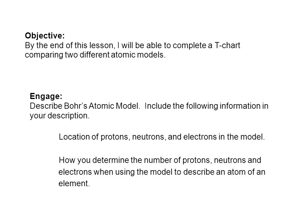 Objective: By the end of this lesson, I will be able to complete a T-chart comparing two different atomic models.