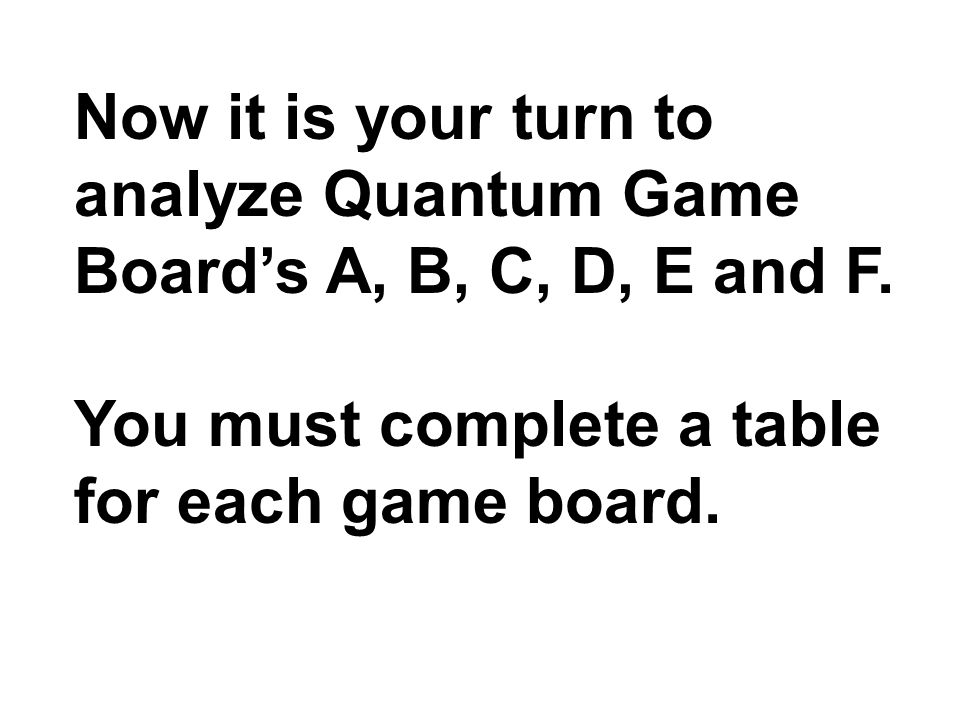 Now it is your turn to analyze Quantum Game Boards A, B, C, D, E and F.