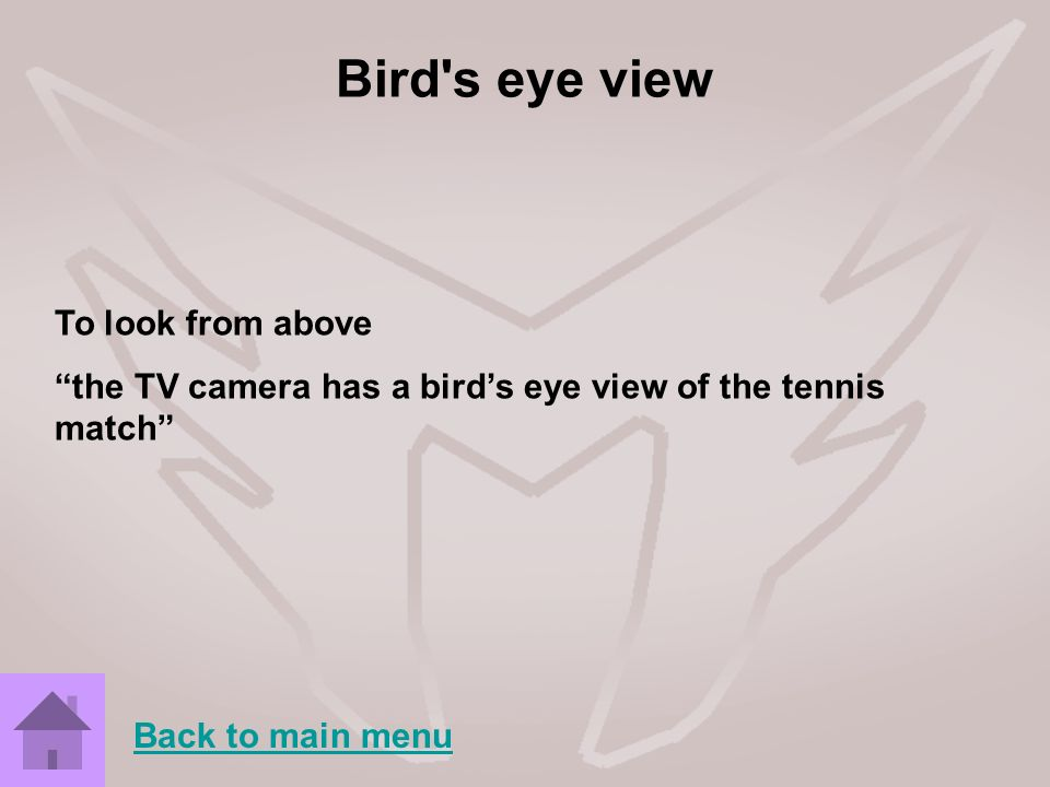 Bird's eye view To look from above the TV camera has a birds eye view of the tennis match Back to main menu