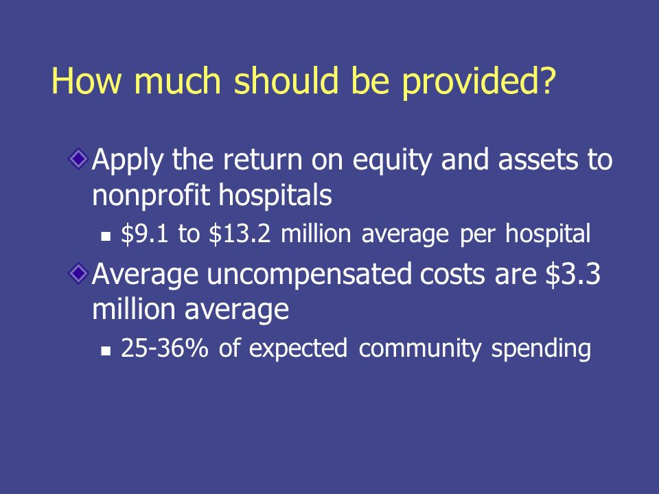 How much should be provided? Apply the return on equity and assets to nonprofit hospitals $9.1 to $13.2 million average per hospital Average uncompens