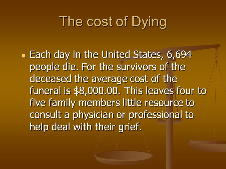 The cost of Dying Each day in the United States, 6,694 people die.