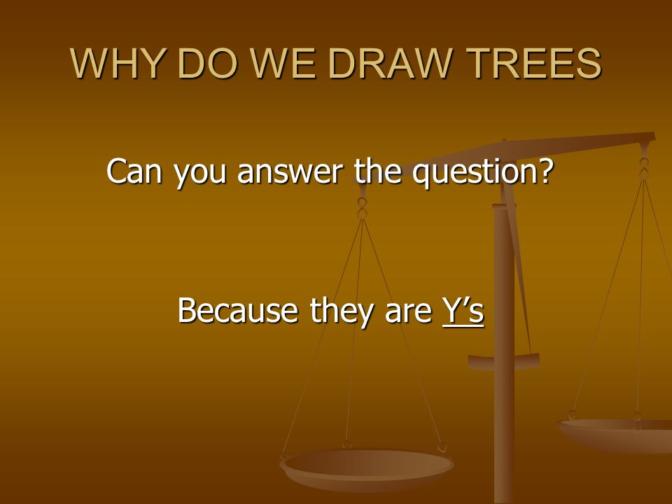 WHY DO WE DRAW TREES Can you answer the question Because they are Ys