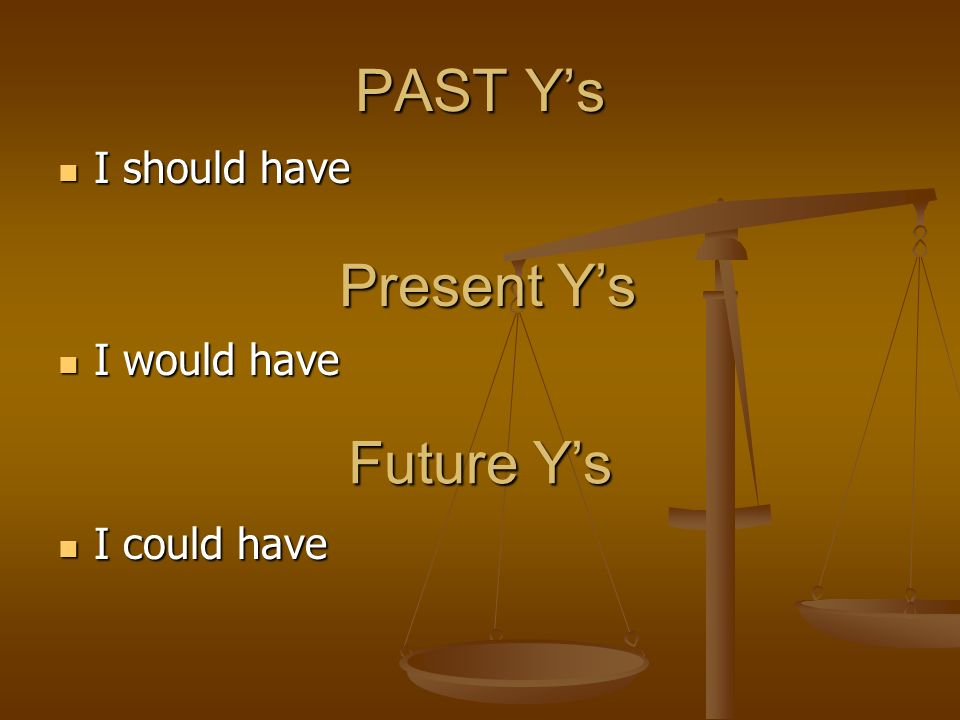 PAST Ys I should have I should have Present Ys I would have I would have Future Ys I could have I could have
