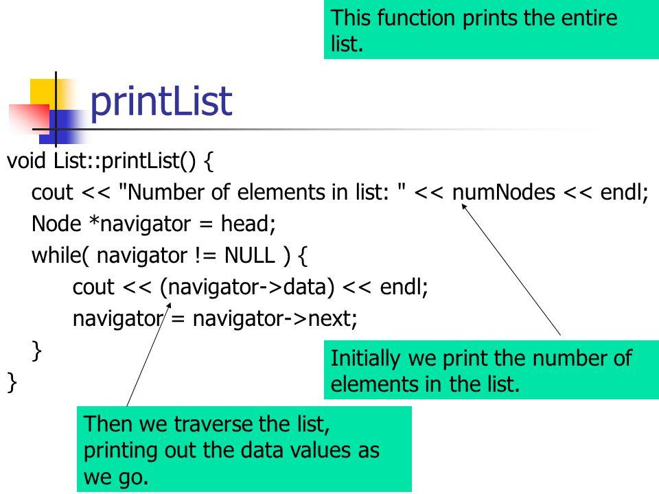 printList void List::printList() { cout <<