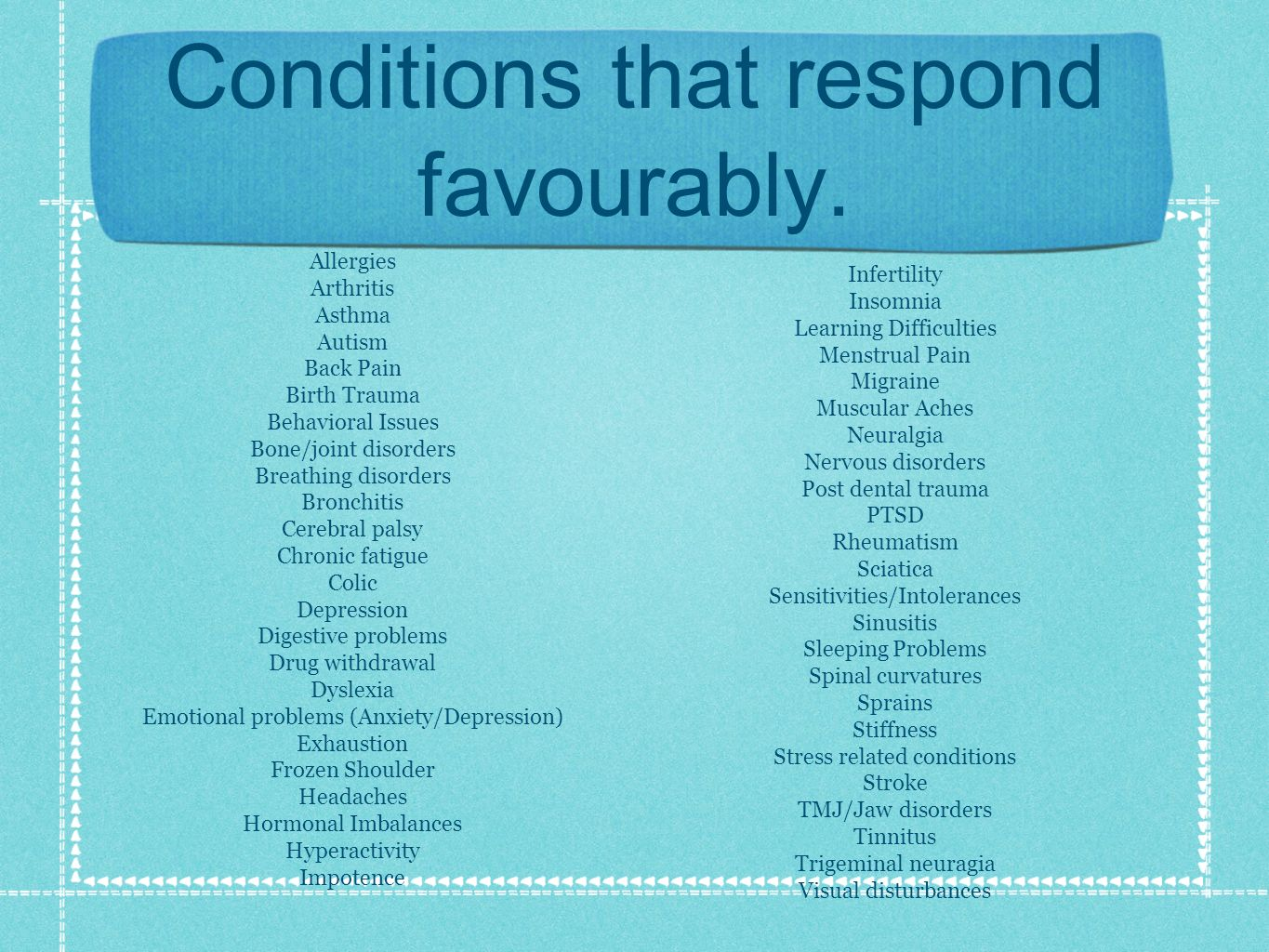Conditions that respond favourably.