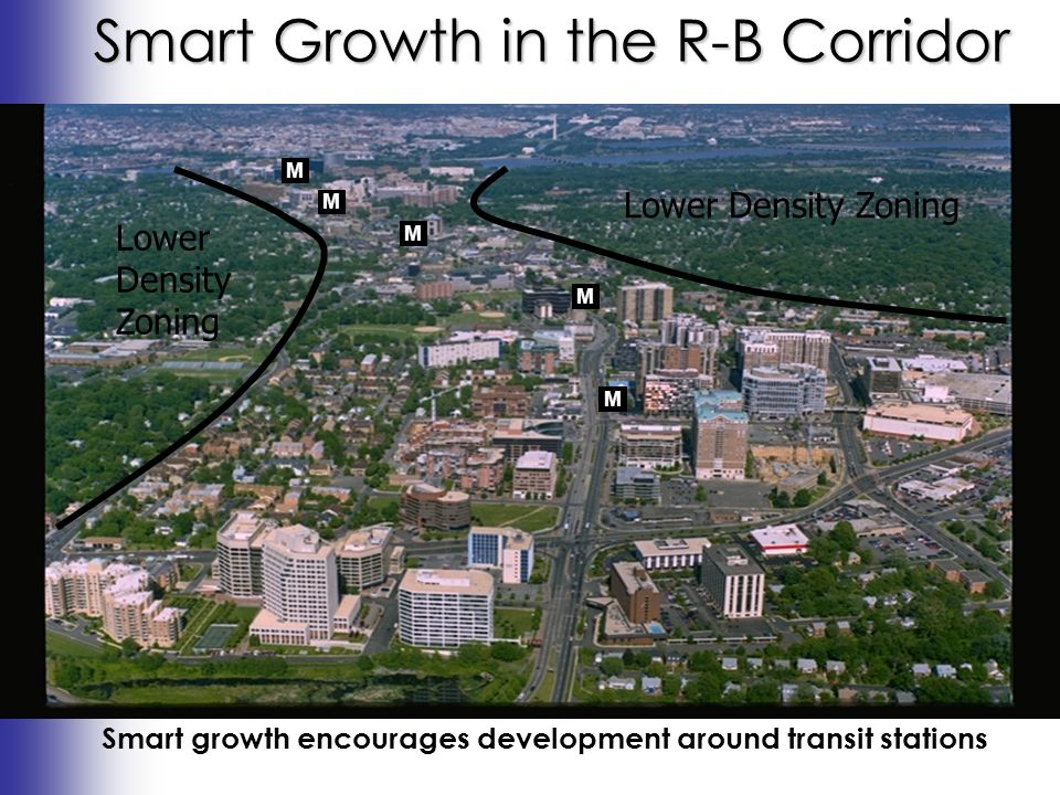 Smart Growth in the R-B Corridor Smart growth encourages development around transit stations M M M M M Lower Density Zoning Lower Density Zoning