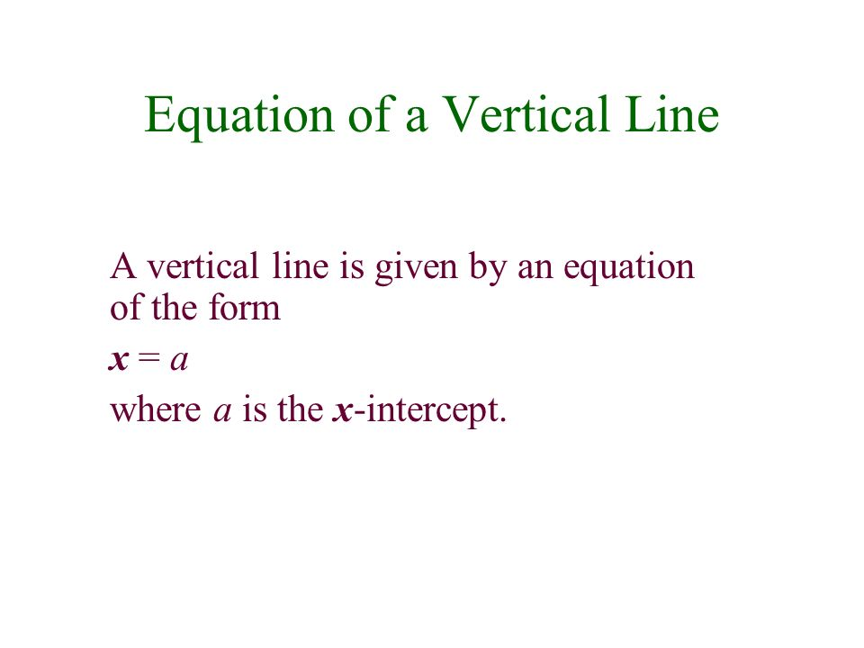 Equation of a Vertical Line A vertical line is given by an equation of the form x = a where a is the x-intercept.