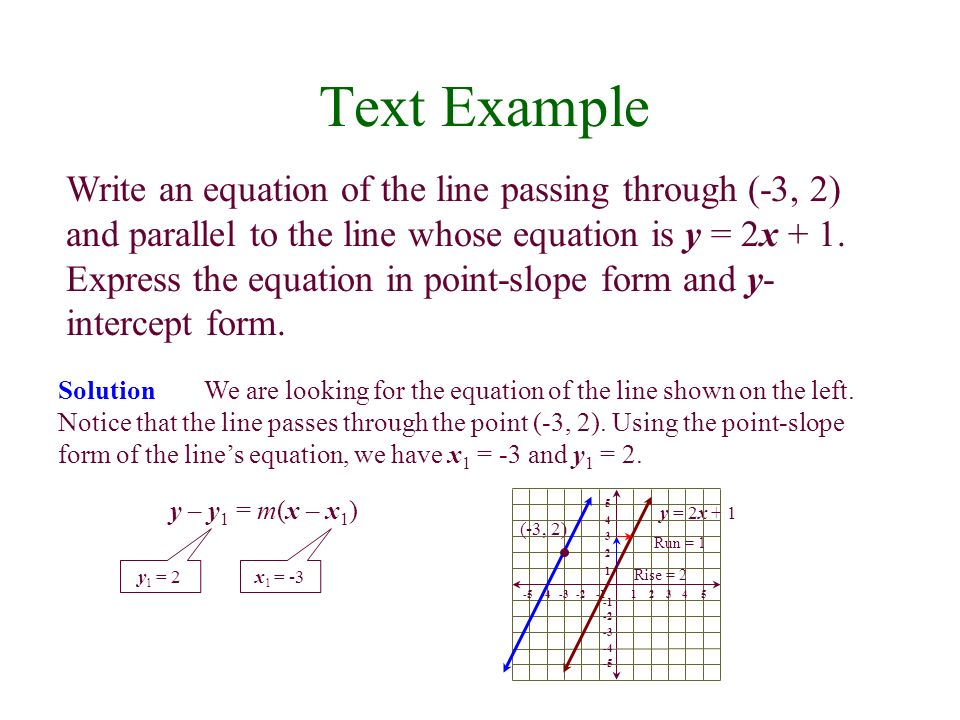 Text Example Write an equation of the line passing through (-3, 2) and parallel to the line whose equation is y = 2x + 1. Express the equation in poin