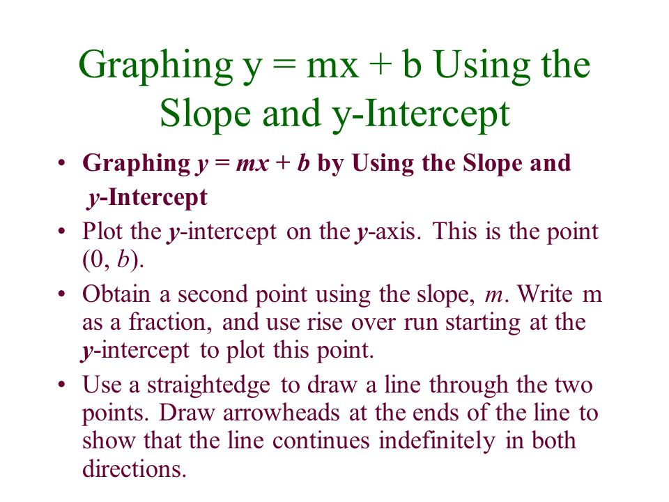 Graphing y = mx + b Using the Slope and y-Intercept Graphing y = mx + b by Using the Slope and y-Intercept Plot the y-intercept on the y-axis. This is