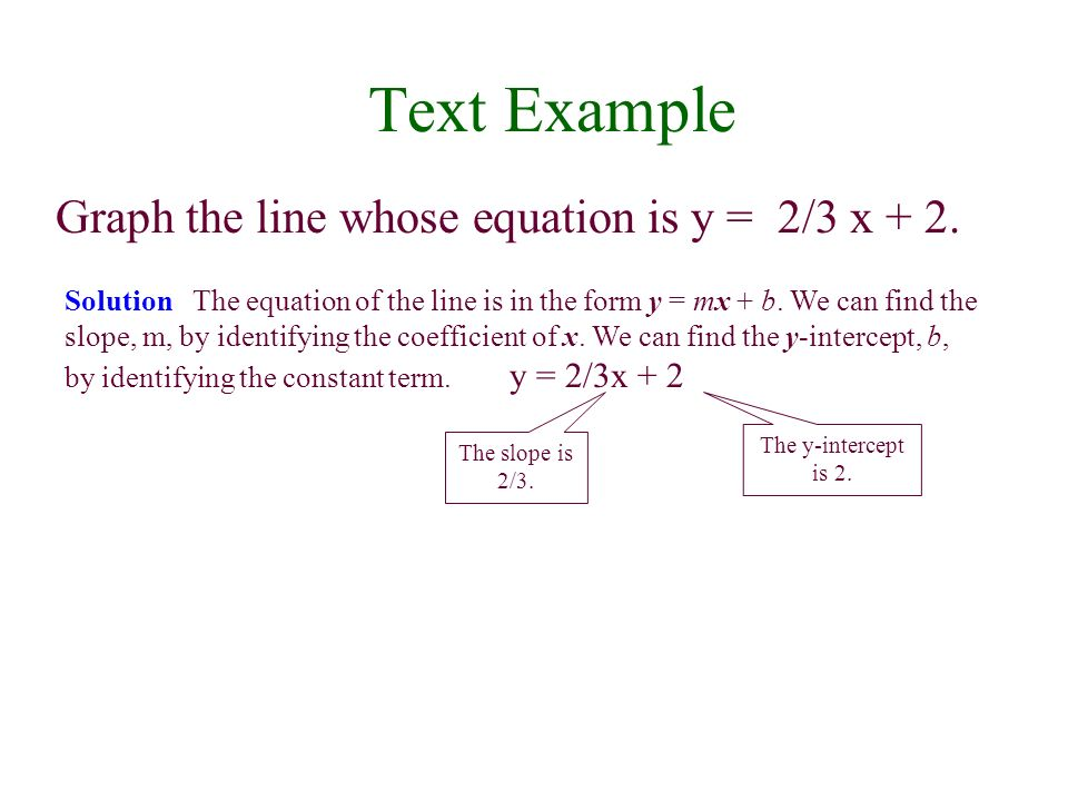 Text Example Graph the line whose equation is y = 2/3 x + 2. Solution The equation of the line is in the form y = mx + b. We can find the slope, m, by