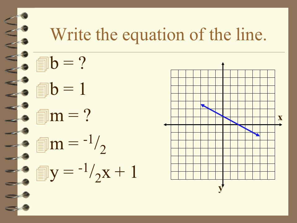 Write the equation of the line. 4 What is the y- intercept? 4 b = -2 4 What is m? 4 m = 3/23/2 4 y = 3 / 2 x -2 x y