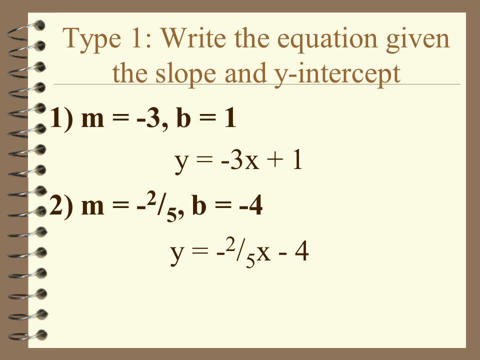 Find the slope and y-int. of each equation. 1) y = -4x + 3 m = -4 b = 3 2) y = 5 - 1 / 2 x m = -1 / 2 b = 5 3) 8x + y = 3 / 4 m = -8 b = 3 / 4 4) 4x -
