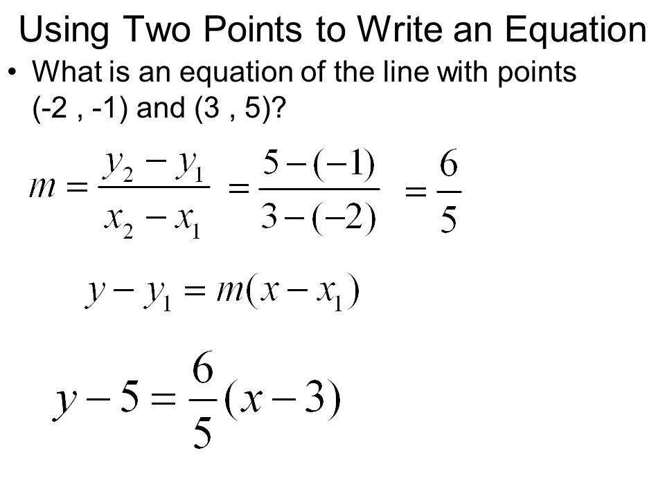 Writing Equations of Horizontal and Vertical Lines What are the equations for the horizontal and vertical lines through (2, 4).