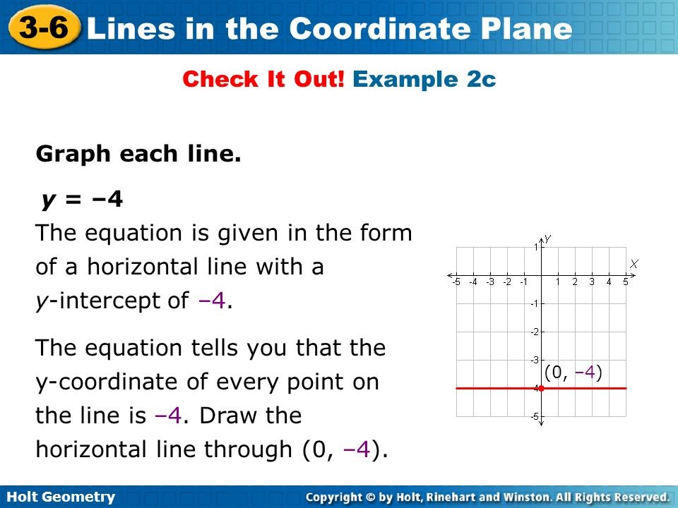 Holt Geometry 3-6 Lines in the Coordinate Plane Check It Out! Example 2c Graph each line. y = –4 The equation is given in the form of a horizontal lin