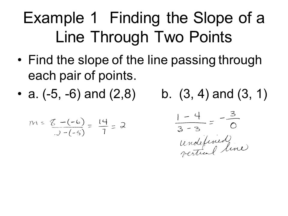 Example 1 Finding the Slope of a Line Through Two Points Find the slope of the line passing through each pair of points. a. (-5, -6) and (2,8)b. (3, 4