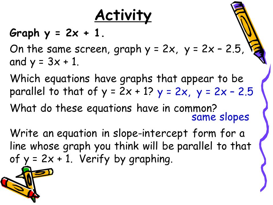 Activity Graph y = 2x + 1. On the same screen, graph y = 2x, y = 2x – 2.5, and y = 3x + 1. Which equations have graphs that appear to be parallel to t