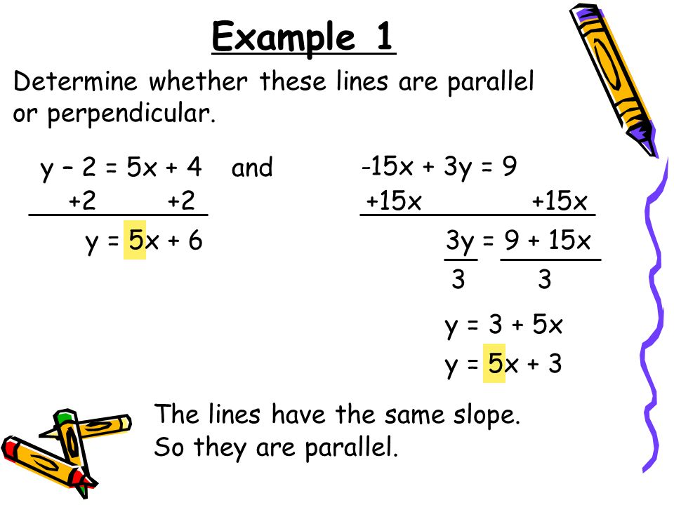 Example 1 Determine whether these lines are parallel or perpendicular. y – 2 = 5x + 4and -15x + 3y = 9 +2 y = 5x + 6 +15x 3y = 9 + 15x 3 y = 3 + 5x y