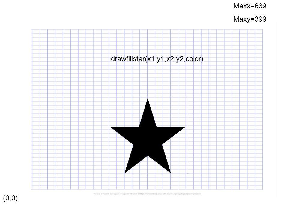 (0,0) Maxx=639 Maxy=399 drawfillstar(x1,y1,x2,y2,color)