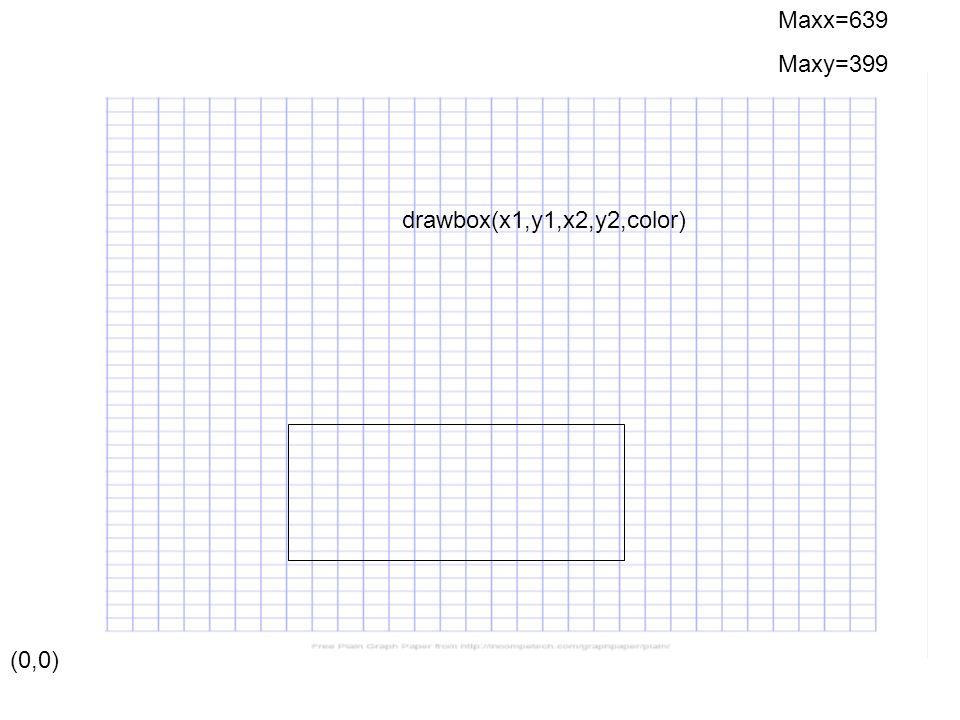 (0,0) Maxx=639 Maxy=399 drawstar(x1,y1,x2,y2,color)