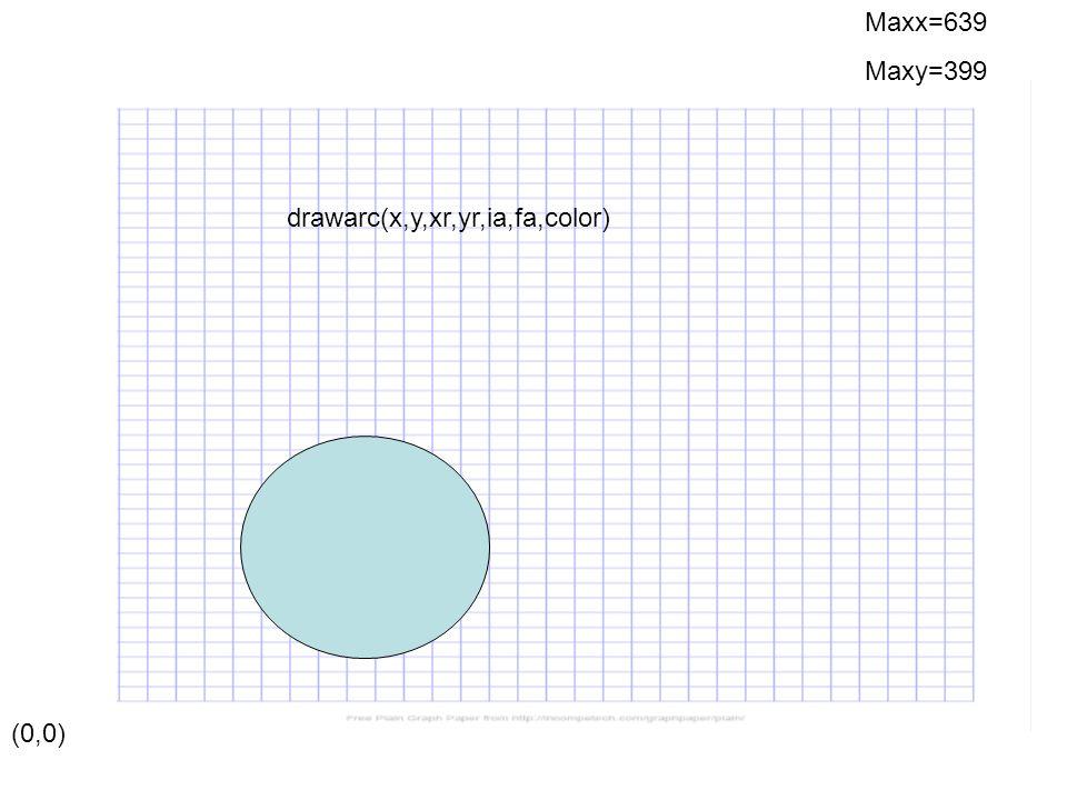 (0,0) Maxx=639 Maxy=399 drawarc(x,y,xr,yr,ia,fa,color)