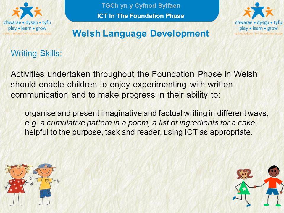TGCh yn y Cyfnod Sylfaen ICT In The Foundation Phase Welsh Language Development Writing Skills: Activities undertaken throughout the Foundation Phase