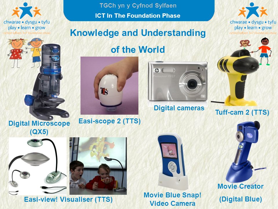 TGCh yn y Cyfnod Sylfaen ICT In The Foundation Phase Knowledge and Understanding of the World Digital Microscope (QX5) Movie Creator (Digital Blue) Ea