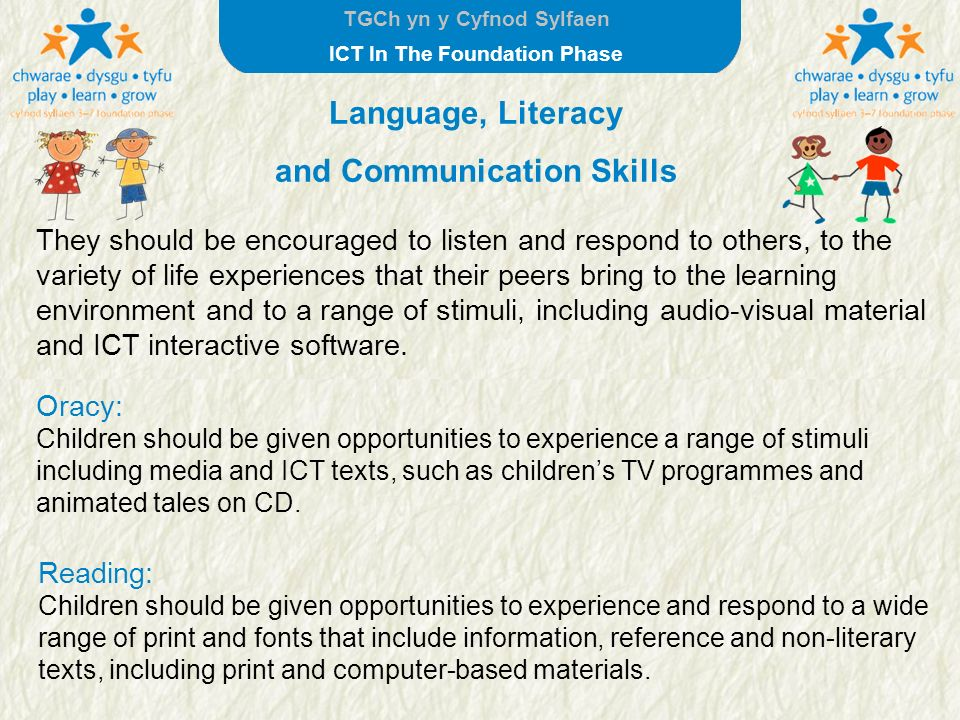 TGCh yn y Cyfnod Sylfaen ICT In The Foundation Phase They should be encouraged to listen and respond to others, to the variety of life experiences tha