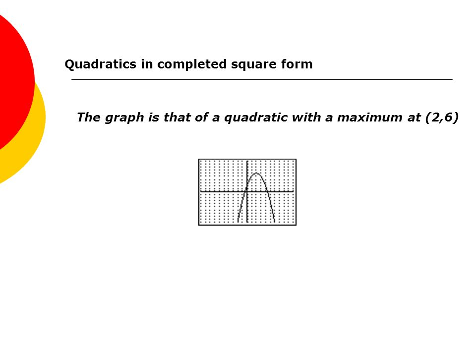Quadratics in completed square form Press Y= and enter the function y = 6 - (x-2) 2 in Y 1 Select FORMAT and choose GridOn Press ZOOM and select 6:ZStandard Press GRAPH