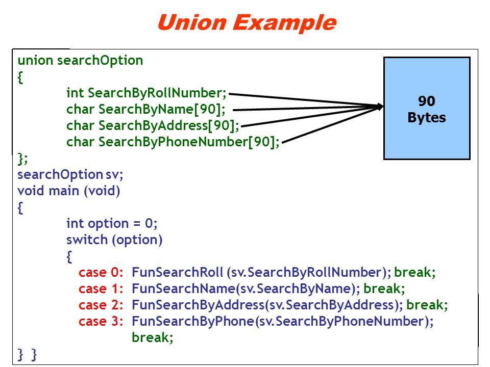 Union Example union searchOption { int SearchByRollNumber; char SearchByName[90]; char SearchByAddress[90]; char SearchByPhoneNumber[90]; }; searchOpt