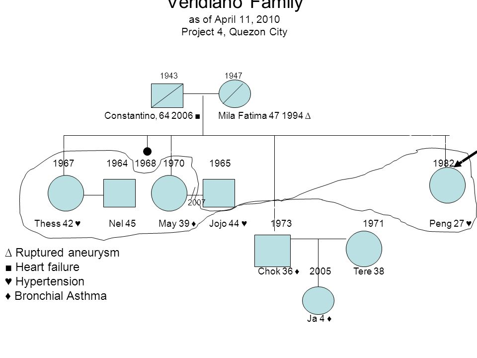 Veridiano Family as of April 11, 2010 Project 4, Quezon City 1943 1947 Constantino, 64 2006 Mila Fatima 47 1994 Ruptured aneurysm Heart failure Hypert
