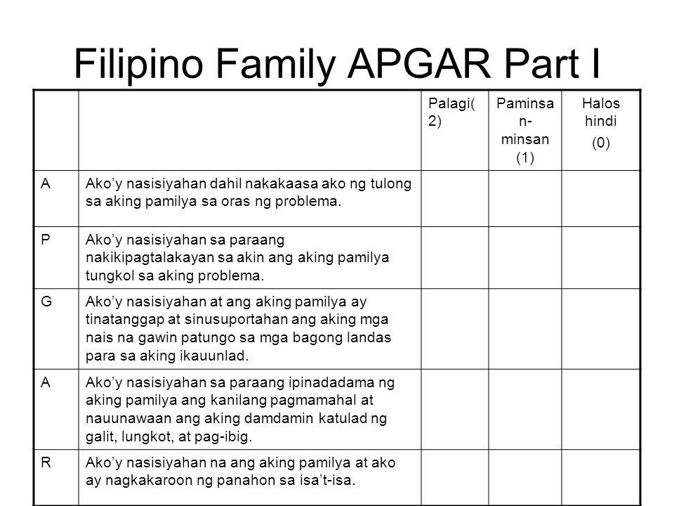 Filipino Family APGAR Part I Palagi( 2) Paminsa n- minsan (1) Halos hindi (0) AAkoy nasisiyahan dahil nakakaasa ako ng tulong sa aking pamilya sa oras