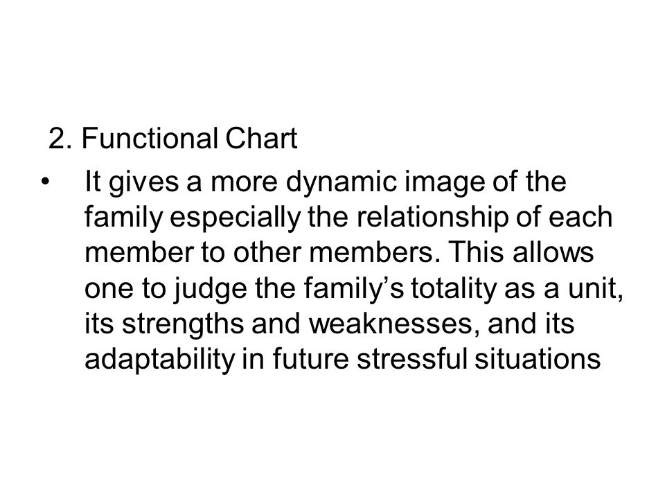 2. Functional Chart It gives a more dynamic image of the family especially the relationship of each member to other members. This allows one to judge