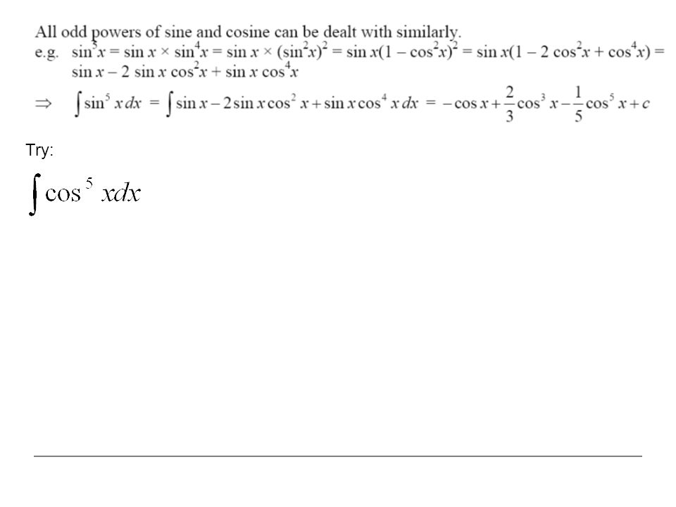 Even powers of sine and cosine