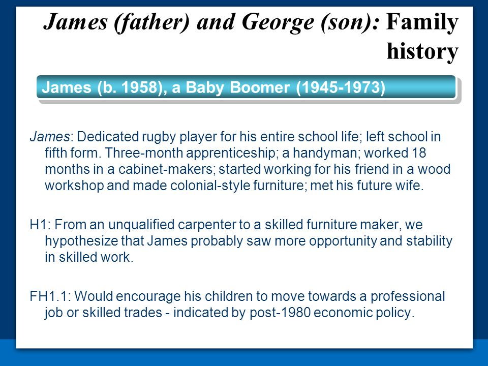 James: Dedicated rugby player for his entire school life; left school in fifth form. Three-month apprenticeship; a handyman; worked 18 months in a cab