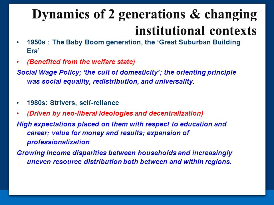 Dynamics of 2 generations & changing institutional contexts 1950s : The Baby Boom generation, the Great Suburban Building Era (Benefited from the welf