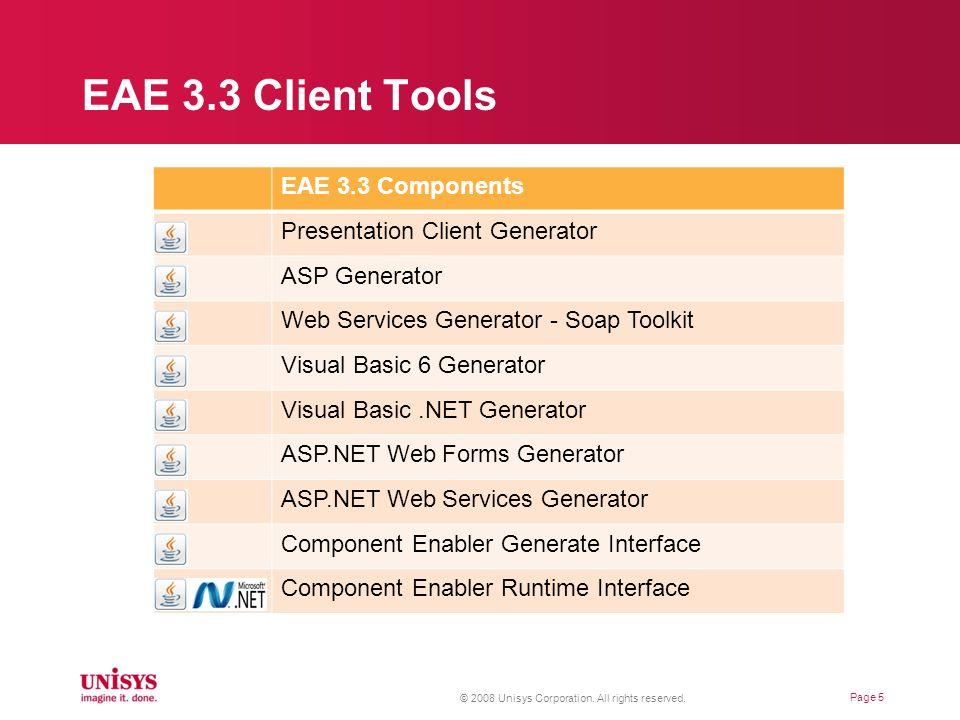 AB Suite 1.2 Components Presentation Client Generator ASP Generator Web Services Generator - Soap Toolkit Visual Basic 6 Generator Visual Basic.NET Generator ASP.NET Web Forms Generator ASP.NET Web Services Generator Component Enabler Generate Interface Component Enabler Runtime Interface AB Suite Client Tools © 2008 Unisys Corporation.