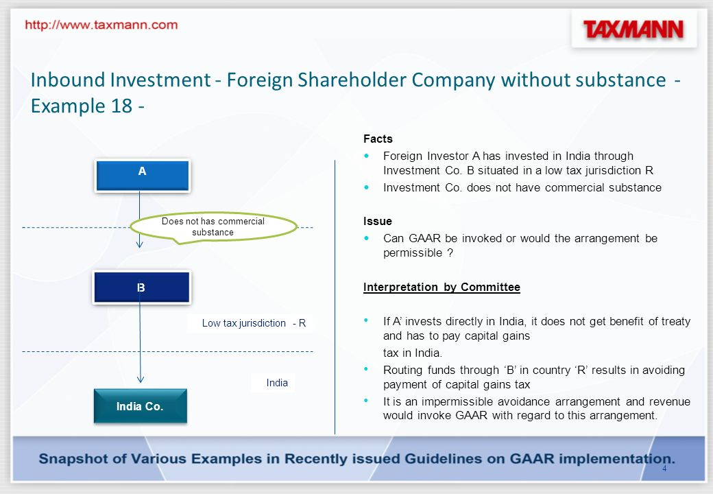 Inbound Investment - Foreign Shareholder Company with substance - Example 3 - 3 Low tax jurisdiction - X India Foreign Investor Indian Co.