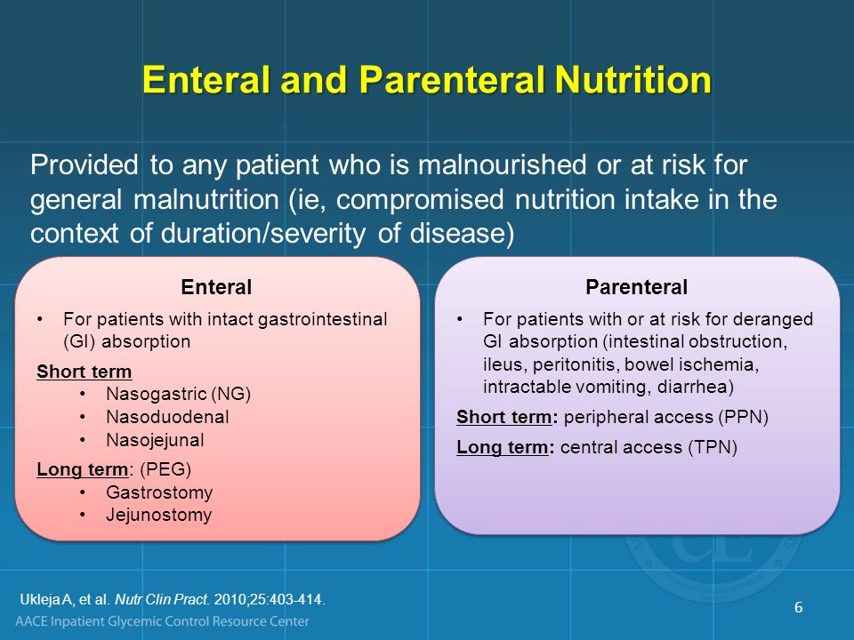 Provided to any patient who is malnourished or at risk for general malnutrition (ie, compromised nutrition intake in the context of duration/severity