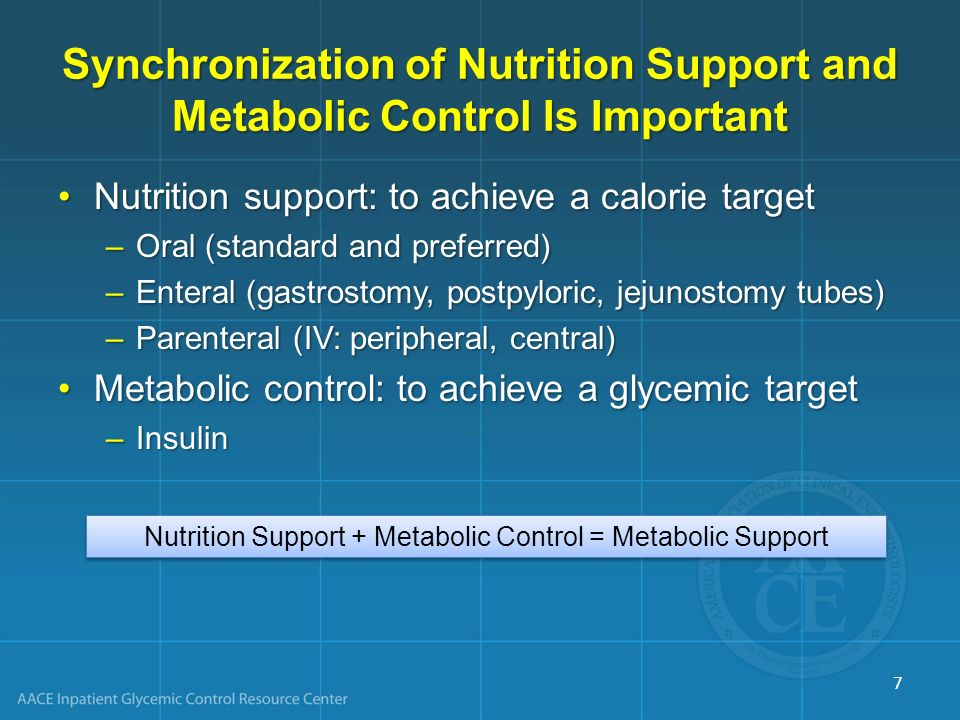 Synchronization of Nutrition Support and Metabolic Control Is Important Nutrition support: to achieve a calorie targetNutrition support: to achieve a