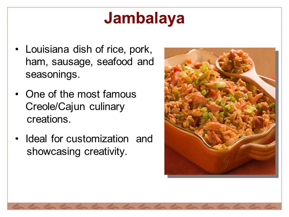Jambalaya Louisiana dish of rice, pork, ham, sausage, seafood and seasonings.